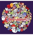Merry christmas set of xmas colorful pattern and vector image vector image