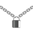 metal chain and lock vector image vector image