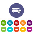 minibus taxi set icons vector image