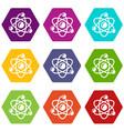 molecule genetics icons set 9 vector image vector image