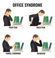 office syndrome illnesses set vector image