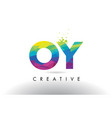 oy o y colorful letter origami triangles design vector image vector image
