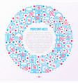 percentages concept in circle with thin line icon vector image vector image