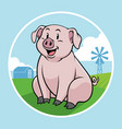 pig in farm with cartoon style vector image vector image