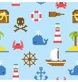 Pixel art marine seamless pattern vector image