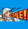 pop art woman astronaut sale vector image vector image