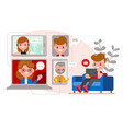 relaxed man sitting on sofa chatting with his vector image