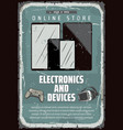 retro poster for electronic devices shop vector image vector image