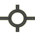 road highway roundabout top view two-lane vector image vector image