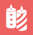 romantic candle with hearts and lines flat icon vector image