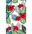 seamless pattern tropical leaves with red vector image vector image