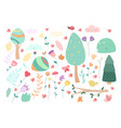 set doodle floral elements autumn collection vector image vector image