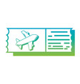 silhouette airplane ticket document to vacation vector image vector image