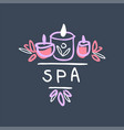 spa logo design badge for wellness yoga center vector image vector image