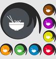 Spaghetti icon sign Symbols on eight colored vector image vector image