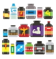 Sports food nutrition icons in flat style and long vector image vector image