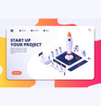 startup landing page successful project launch vector image vector image