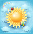 summer background with sun and hot air balloons vector image vector image