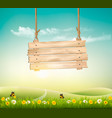 summer nature background with green landscape and vector image vector image