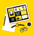 tablet shopping online yellow vector image