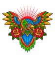 traditional parrot tattoo design vector image vector image