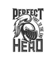 tshirt print with knight head side view mascot vector image vector image