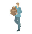 warehouse worker icon isometric style vector image vector image