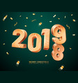 wooden 2019 for merry christmas and new year vector image vector image