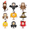 Halloween Cartoon Character Design Set vector image