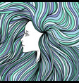 girl with long green and blue hair vector image