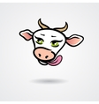 Head of licking cow isolated on a white background vector image