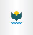 whale tail ocean sun summer icon vector image