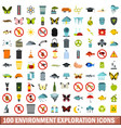 100 environment exploration icons set flat style vector image vector image