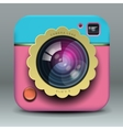 App design pink and blue photo camera icon vector image vector image