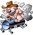 Bbq pig riding on a grill barrel vector | Price: 1 Credit (USD $1)