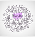 bouquet lily and sakura flowers vector image vector image