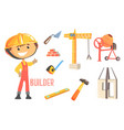 boy builder kids future dream construction worker vector image vector image