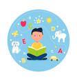 boy reading book concept teaching reading vector image vector image