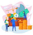 businessman with wallet dollar builder in hardhat vector image vector image