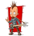 Cartoon cool punk rock musician with guitar vector image vector image