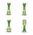 character of leek cartoon set vector image vector image
