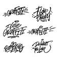 collection brush lettering quotes graffiti vector image