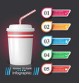 cup icon coffee and tea infographics vector image vector image
