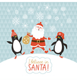cute penguins and Santa vector image vector image