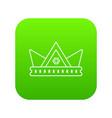 diamond crown icon green vector image vector image