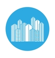 emblem buildings and city scene icon image vector image vector image