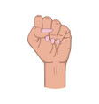 female fist raised up girls hand in fist gesture vector image