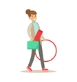 Fitness Club Trainer Walking To Work With Hula vector image vector image