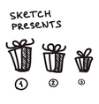 Funny present boxes of differrent size vector image vector image