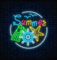 glowing neon sign of summer begin party with sea vector image